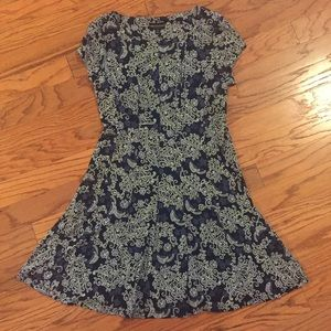 Connected Apparel Navy & White Floral Print Dress